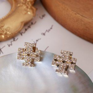 Tory Burch Micro Inlaid Pale Pink Diamond Earrings